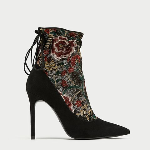 Embroidered Stocking-Style High Heel Court Shoes