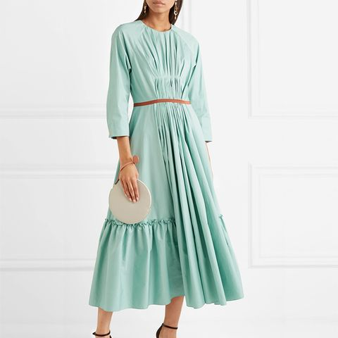 Varena Grosgrain-Trimmed Ruched Cotton-Poplin Midi Dress