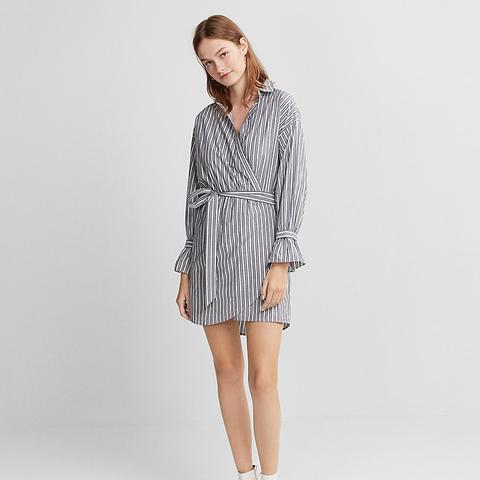 Striped Cotton Poplin Wrap Dress