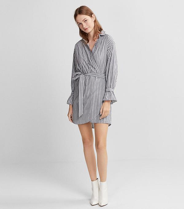 Womens Striped Cotton Poplin Wrap Dress