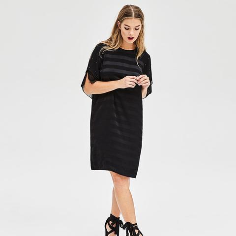 Black Stripe Satin Dress