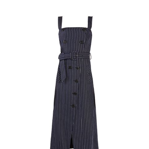 Audrey Square-Neck Pinstriped Midi Dress