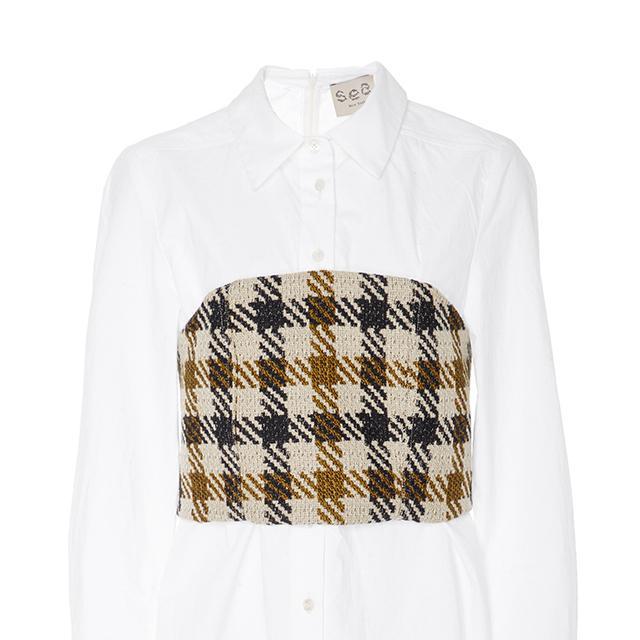Houndstooth Corset Combo Shirt