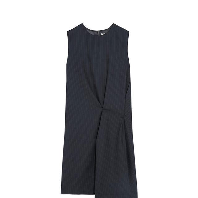 Danya Asymmetric Pinstriped Wool-twill Dress