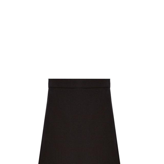 Split-side wool-blend twill A-line skirt