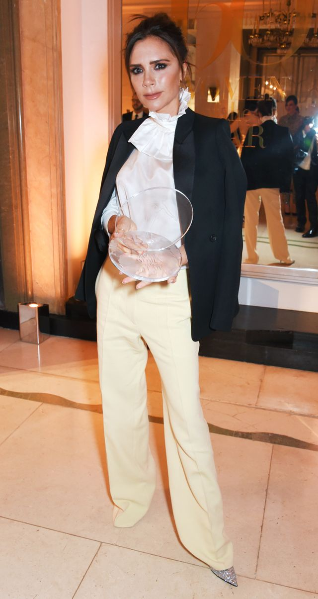 Victoria Beckham yellow trousers: