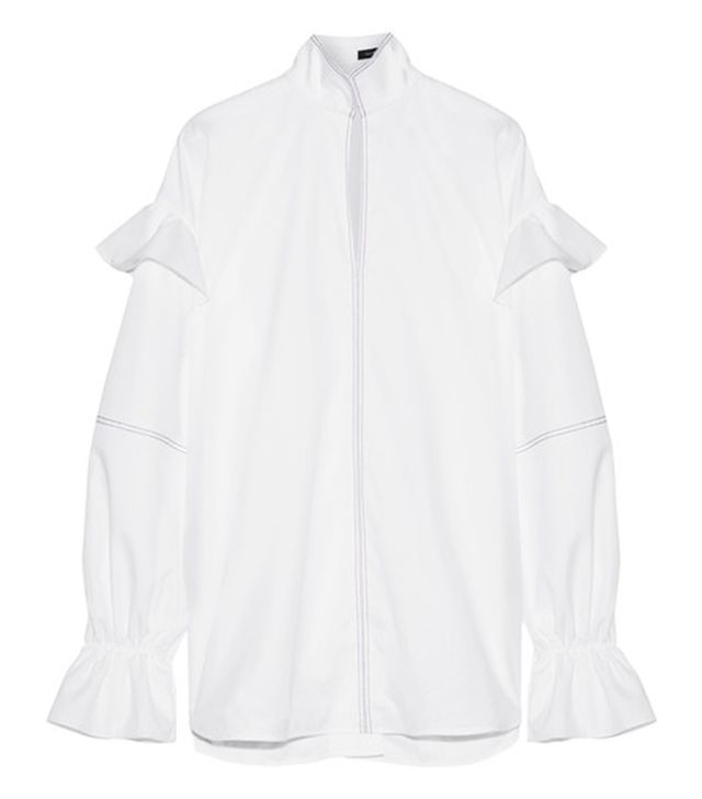 Ellery Shayne Ruffle-Trimmed Embroidered Cotton-Poplin Top