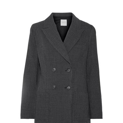 Prince of Wales Checked Wool-Crepe Blazer