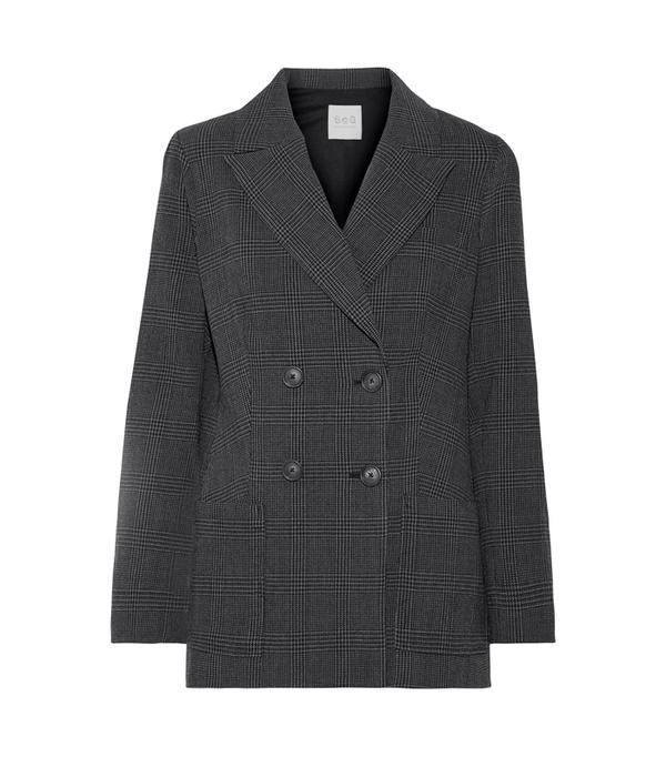 Ada Oguntodu Style: Sea Prince of Wales Checked Wool-Crepe Blazer