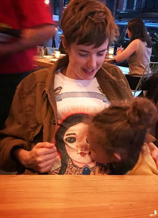Style Notes: Agyness Deyn also wore the first illustrated tee, pairing it with a brown oversized denim jacket.