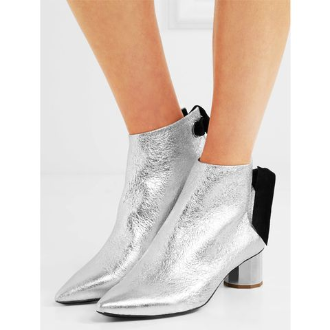 Suede-Trimmed Metallic Leather Ankle Boots
