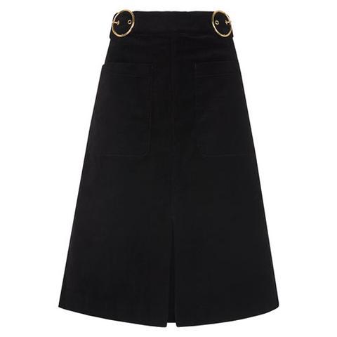 Double Buckle Velvet Skirt