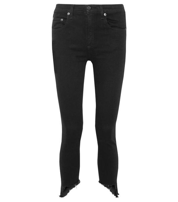 Best High-Waisted Skinny Jeans: Rag & Bone The Capri Cropped Distressed High-Rise Skinny Jeans