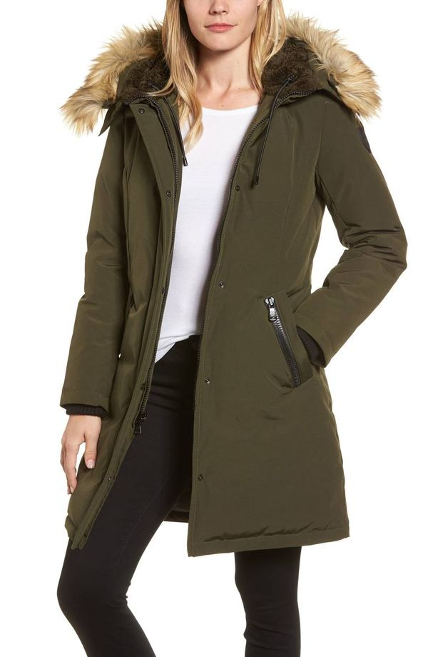 Down & Feather Fill Parka With Faux Fur Trim