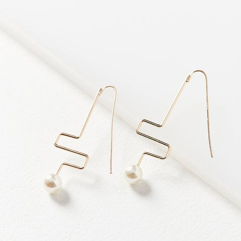 Pearl Wire Drop Earrings