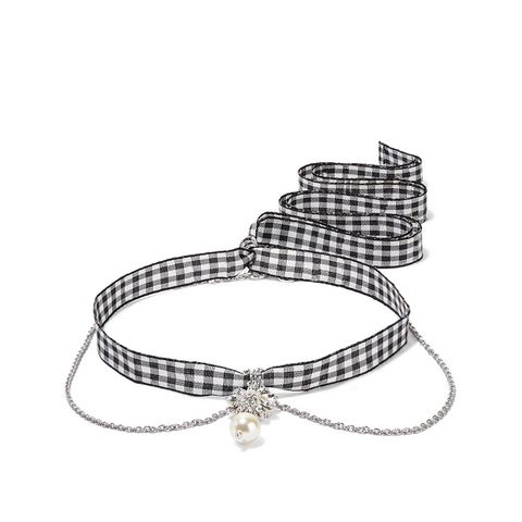 Gingham Cotton, Crystal, and Faux Pearl Necklace