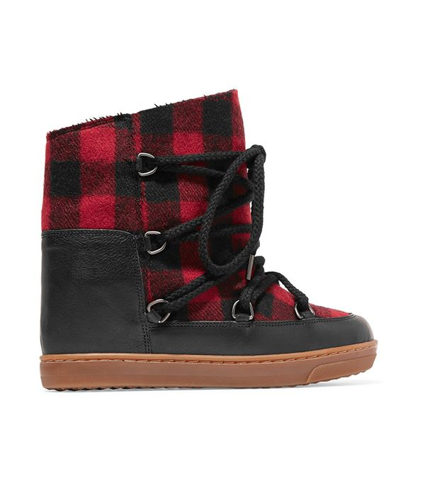 Nowles Shearling-lined Leather-trimmed Plaid Wool Boots
