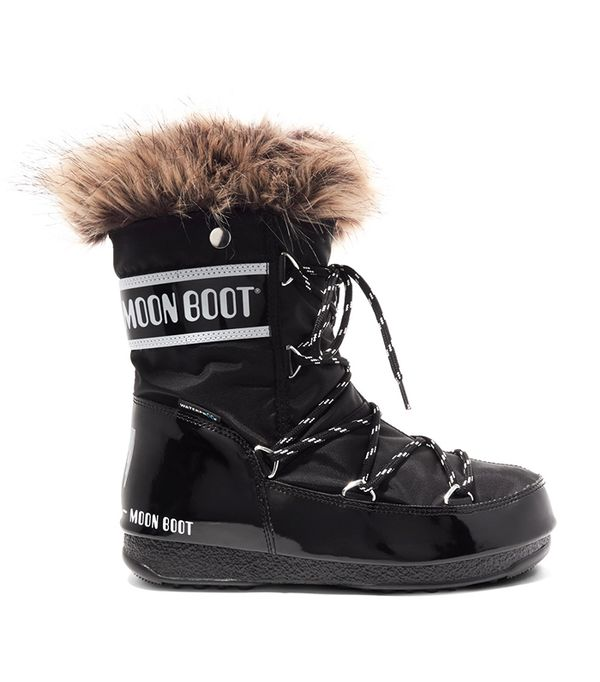 Monaco Faux Fur-trimmed Shell-piqué And Faux Leather Snow Boots