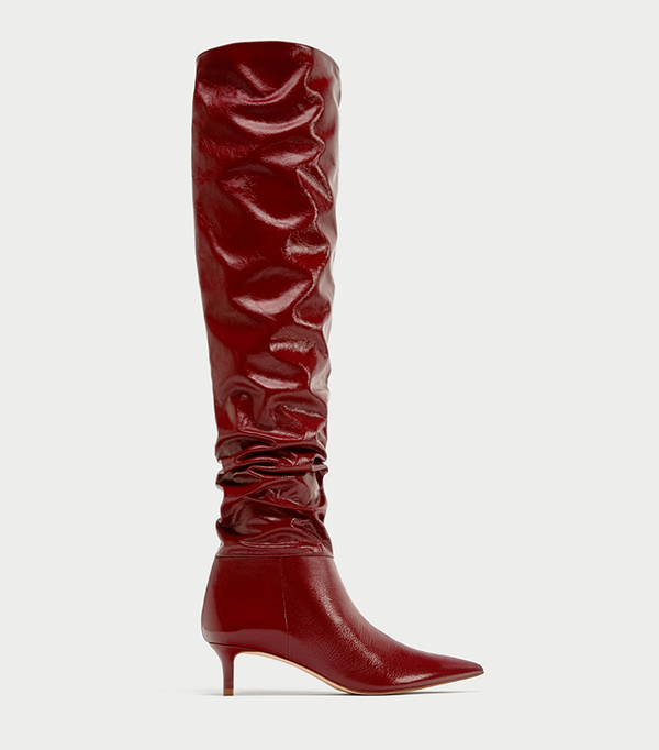 GATHERED LEATHER OVER THE KNEE HIGH HEEL BOOTS