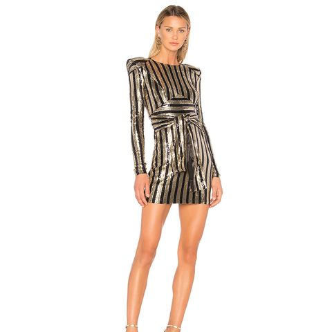 Take That to the Bank Dress in Metallic Gold