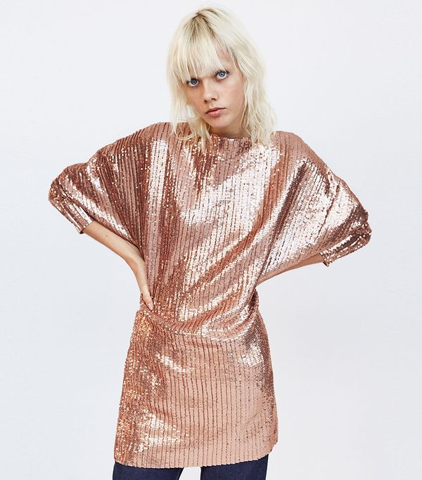Zara Sequined Pleated Dress