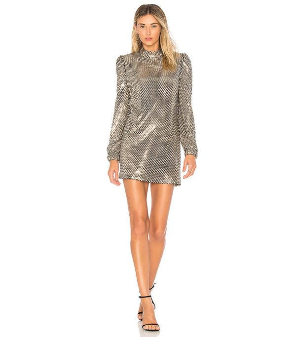 Tularosa Zulema Dress in Metallic Gold