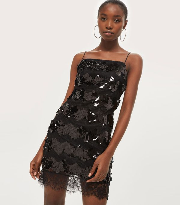 Topshop Sequin Lace Slip Bodycon Dress