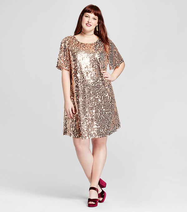 Xhiliration Short Sleeve Sequin Dress