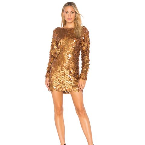 Malia Sequin Dress in Metallic Bronze