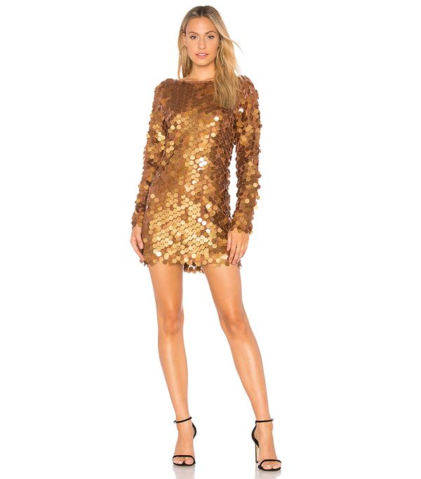 Motel Malia Sequin Dress in Metallic Bronze