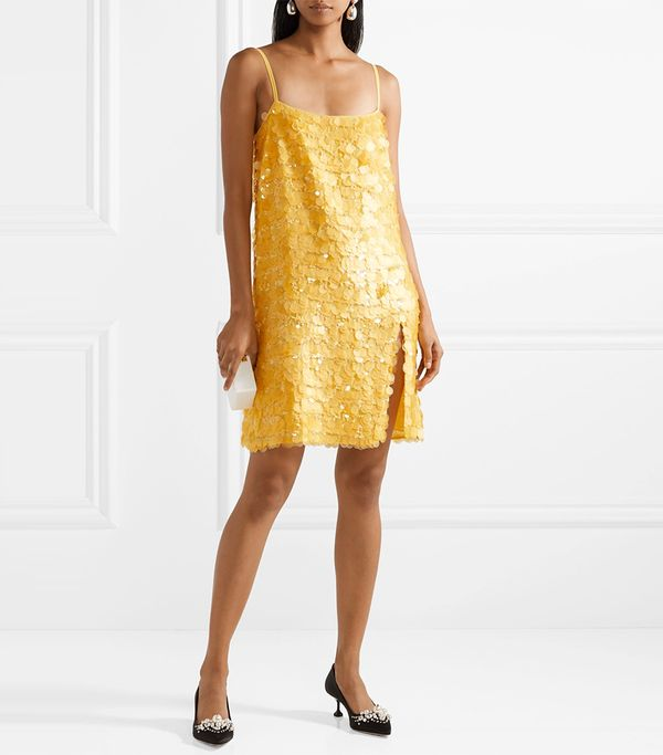 Miu Miu Embellished Silk-Georgette Mini Dress
