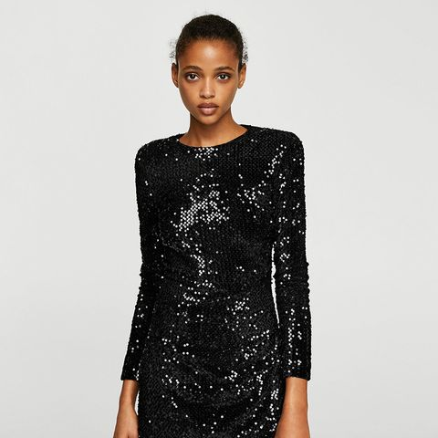 Pursed Sequined Dress