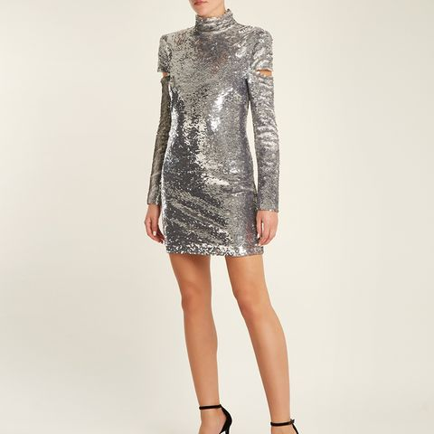 High-Neck Split-Sleeve Sequin Mini Dress