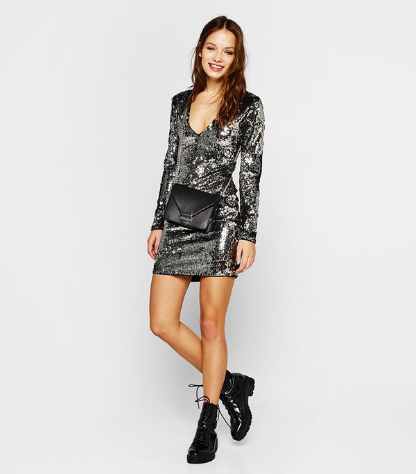 Bershka Sequinned Dress