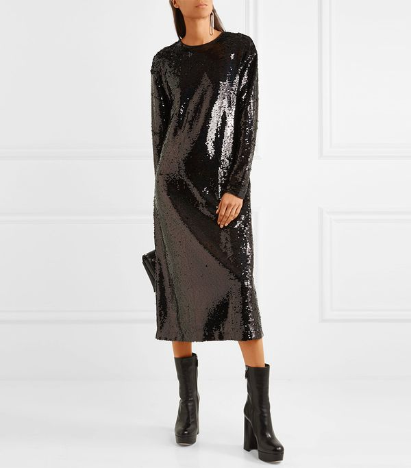 Alexander McQueen Sequined Tulle Midi Dress