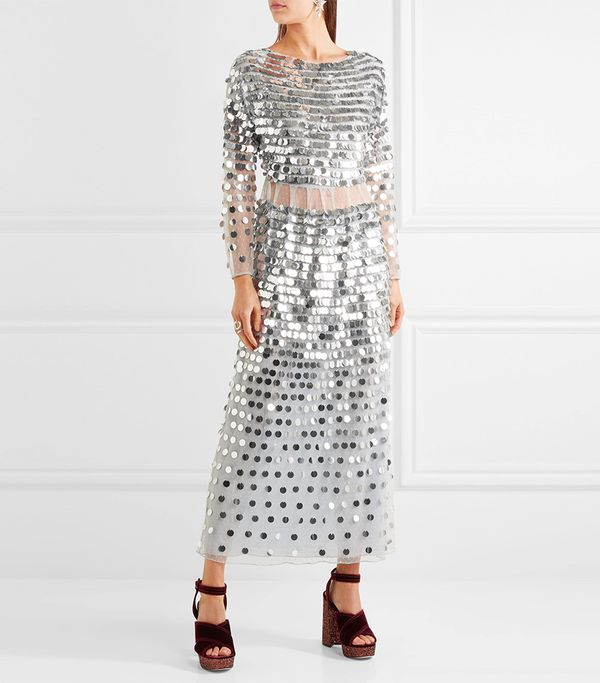 AlexaChung Paillette-Embellished Swiss-Dot Tulle Midi Dress