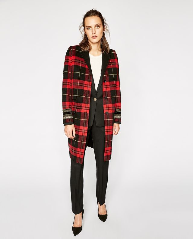 The Kooples Checked Wool Mix Coat