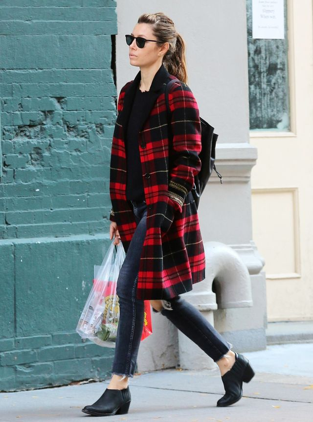 On Jessica Biel: The Kooples' Checked Wool Mix Coat ($925)