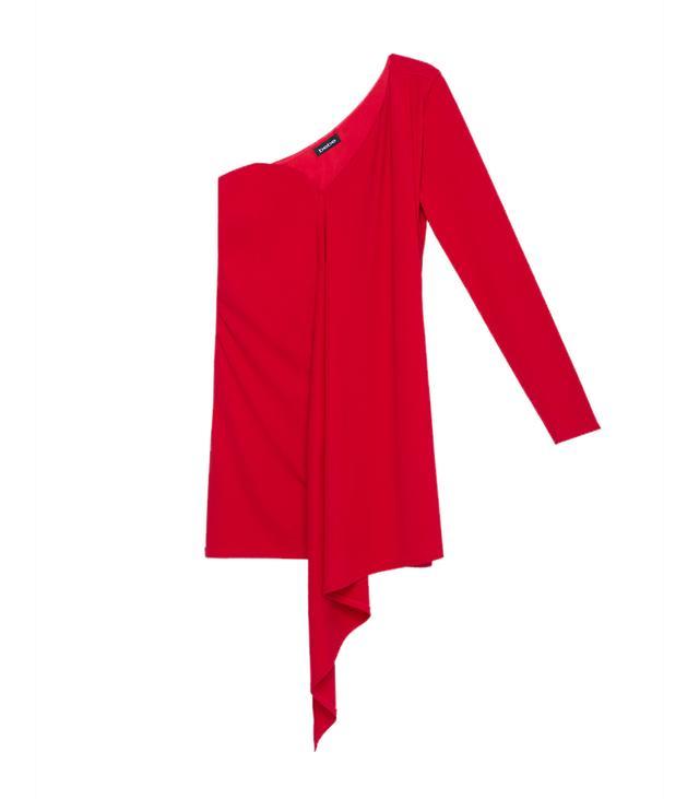 bebe Draped One Sleeve Dress
