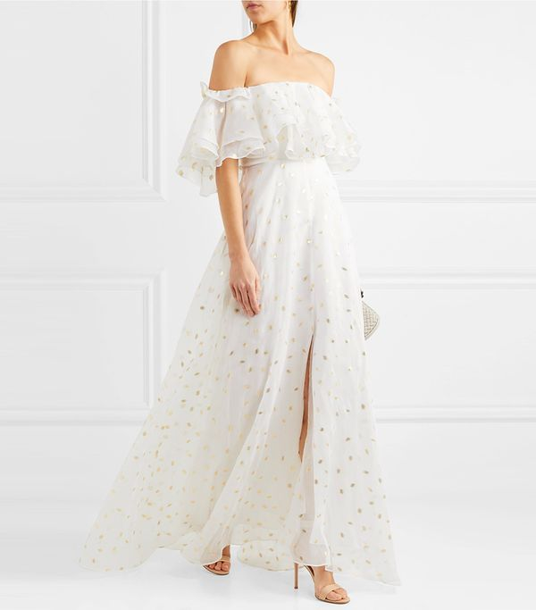 Off-the-shoulder Metallic Fil Coupé Organza Gown
