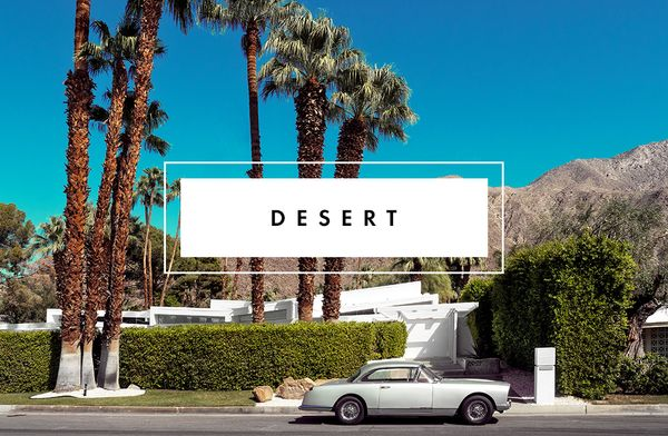 We love a clean, modern look for a desert wedding. There are a slew of options on the market for modern brides, from formal to casual, and you're definitely not confined to a wedding dress...