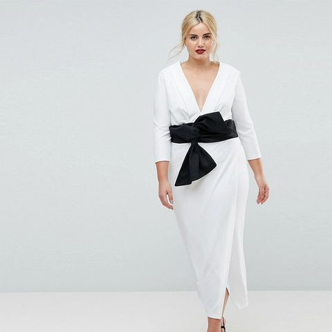 Deep Plunge Origami Bow Front Maxi Dress