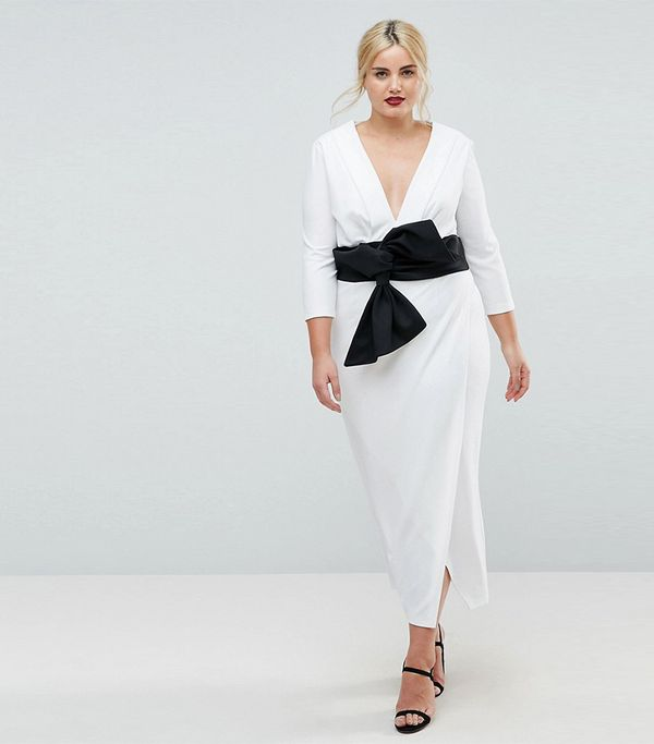 ASOS CURVE Deep Plunge Origami Bow Front Maxi Dress