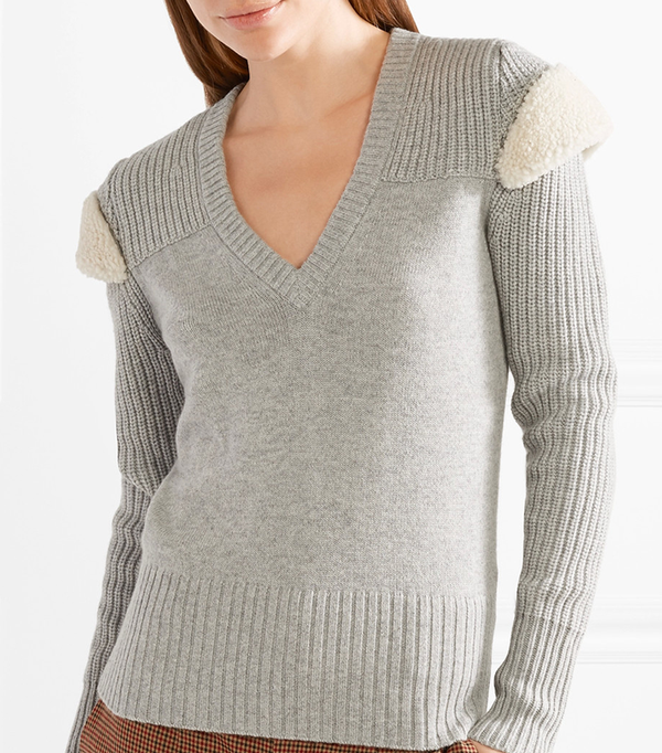 Shearling-trimmed Wool And Cashmere-blend Sweater