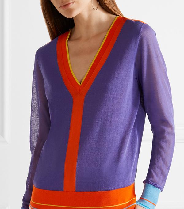Color-block Cotton-blend Sweater