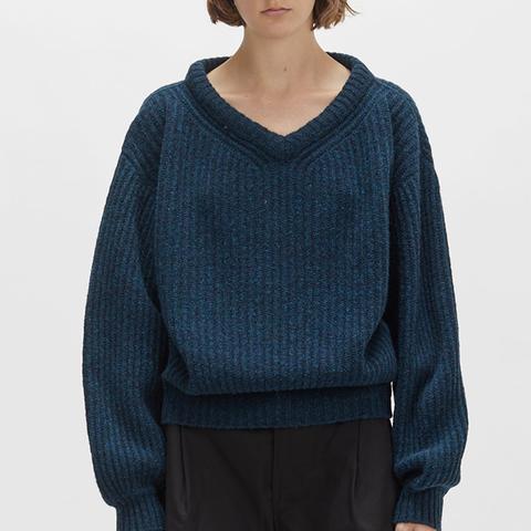 Shetland Large V-Neck Sweater in Petrol Blue
