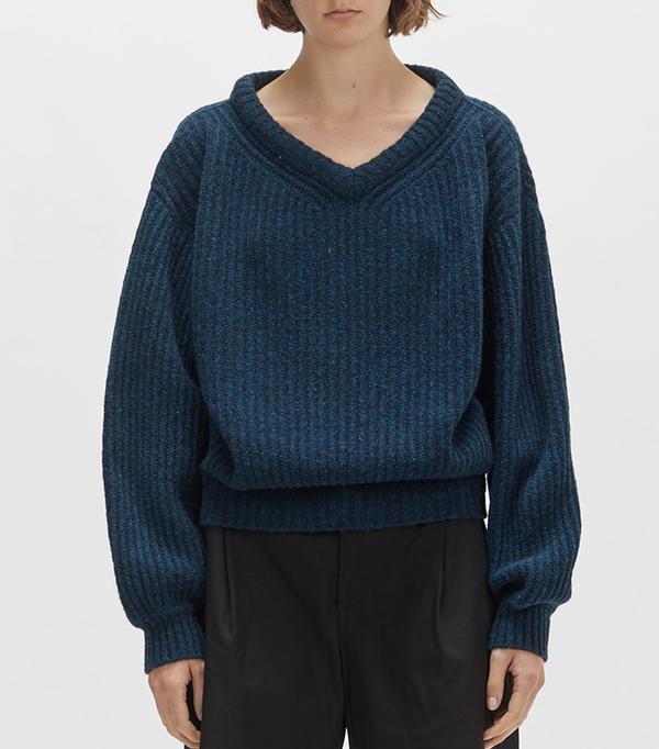 Shetland Large V-Neck Sweater Petrol Blue Size: Medium