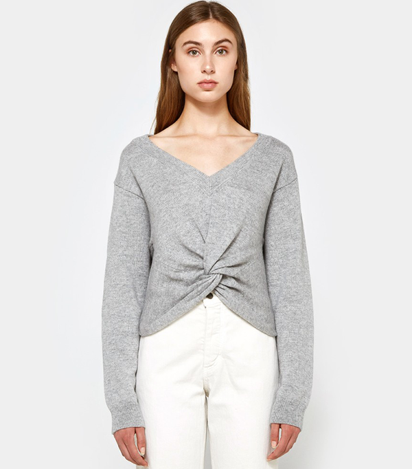 L/S Deep V Twist Front Sweater in Heather Grey