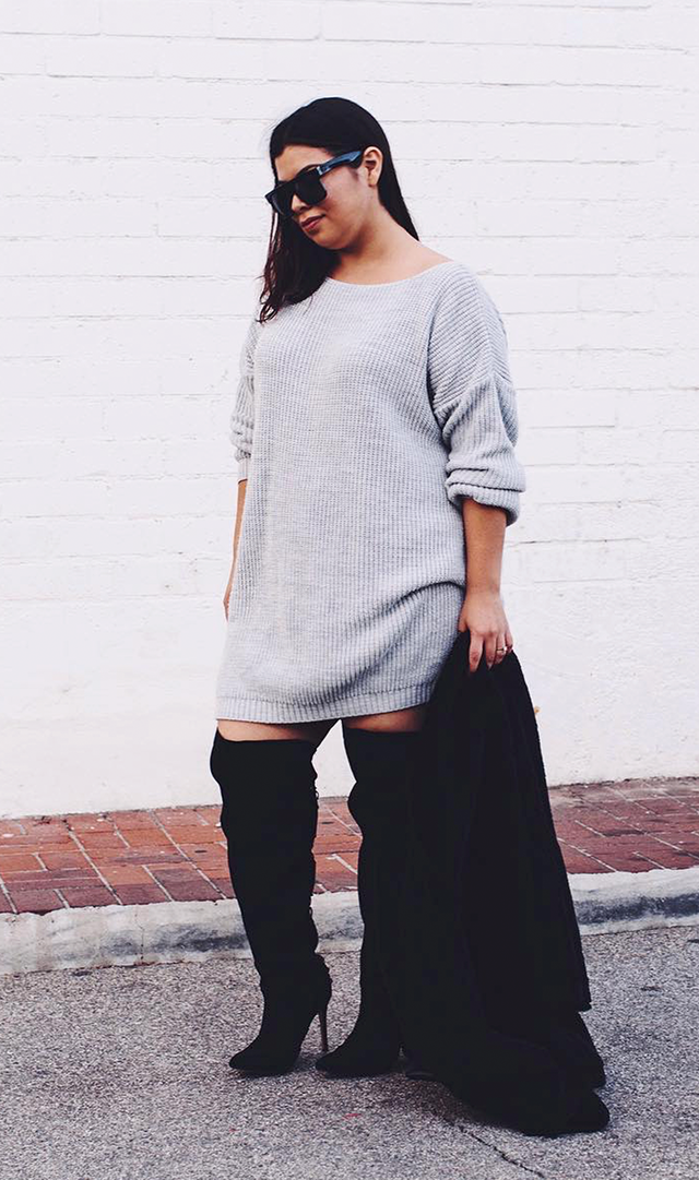 Sweaterdress + Over-the-Knee Boots + Wool Coat