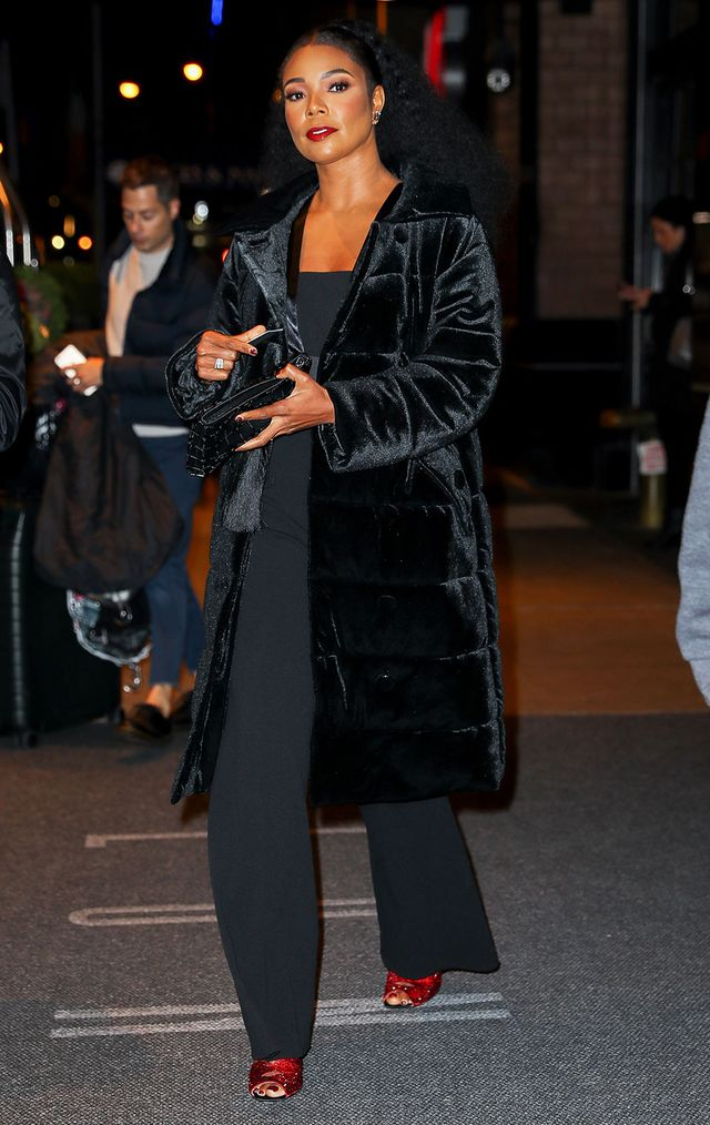 On Gabrielle Union: New York & Company Gabrielle Union Collection Velvet Puffer Coat ($170); Carolina Santo Domingo clutch; Charlotte Olympia heels Similar Styles: Zara Blazer-Style Jumpsuit...